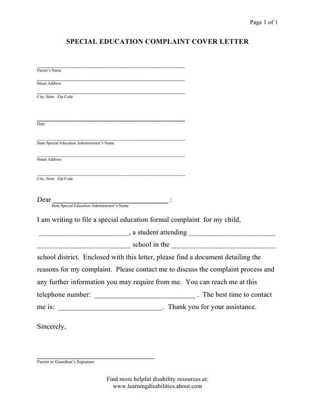 Idea Formal Complaint  Model Form Letters And Forms Special