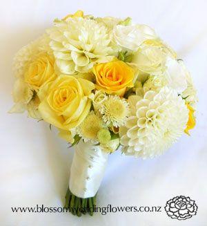 B026-wedding-flower-bouquet-yellow-white-cream-rose-dahlia ...