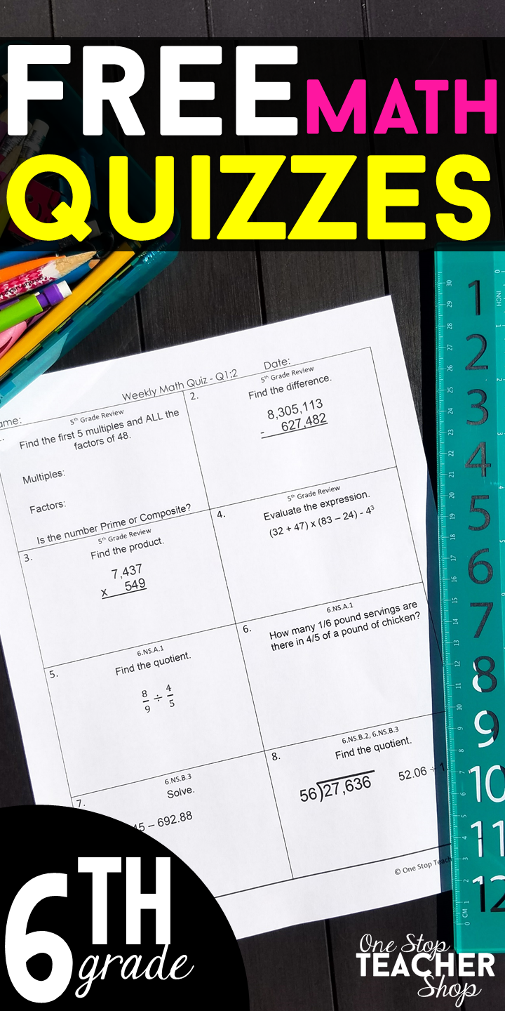 FREE 6th Grade Weekly Math Quizzes. These 6th Grade Math Quizzes are ...