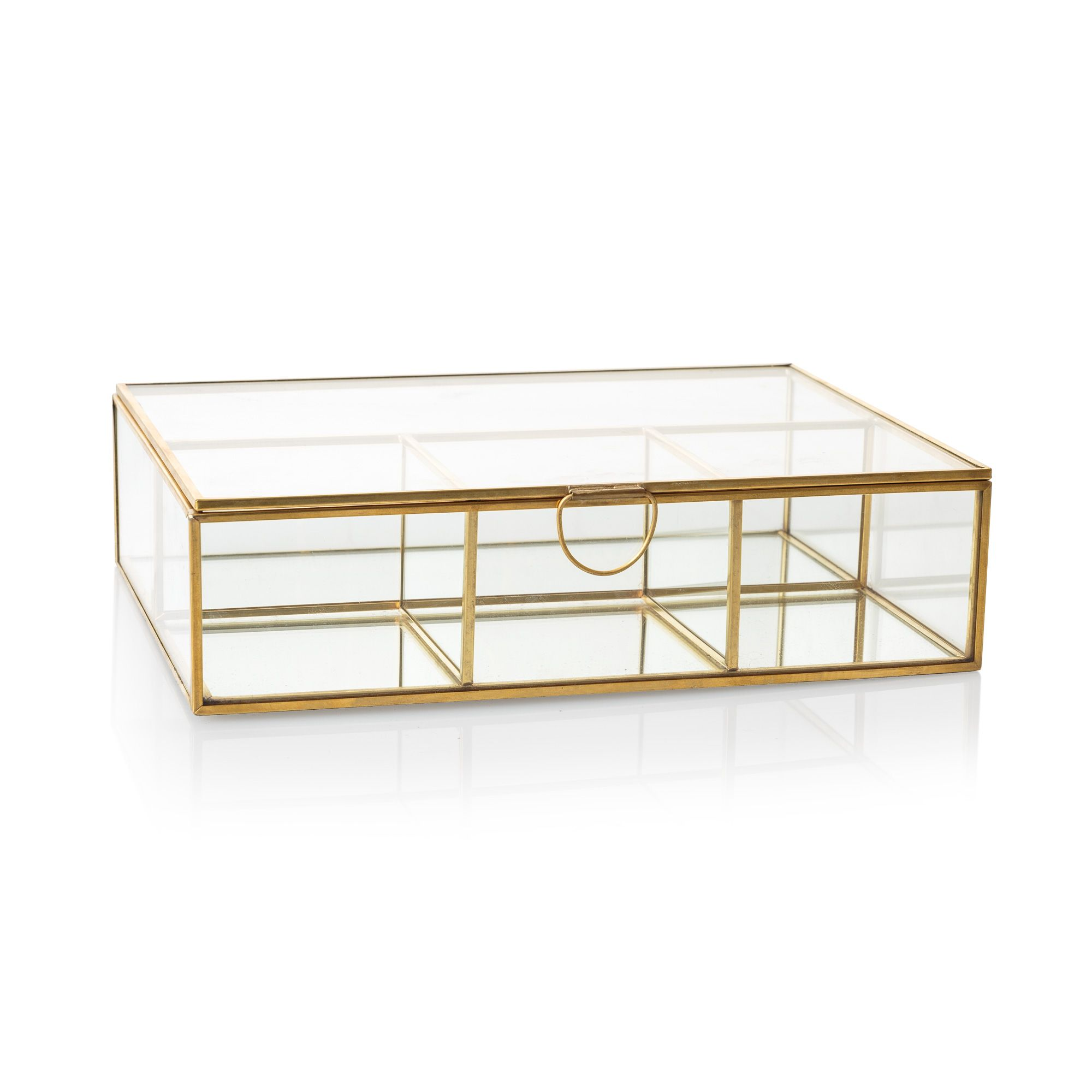 Buy the Large Gold & Glass Mirrored Jewellery Box at Oliver Bonas ...