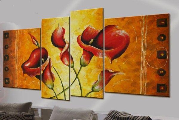 Quadro moderno calle rosse , fiori 02 - Quadri astratti, quadri ...