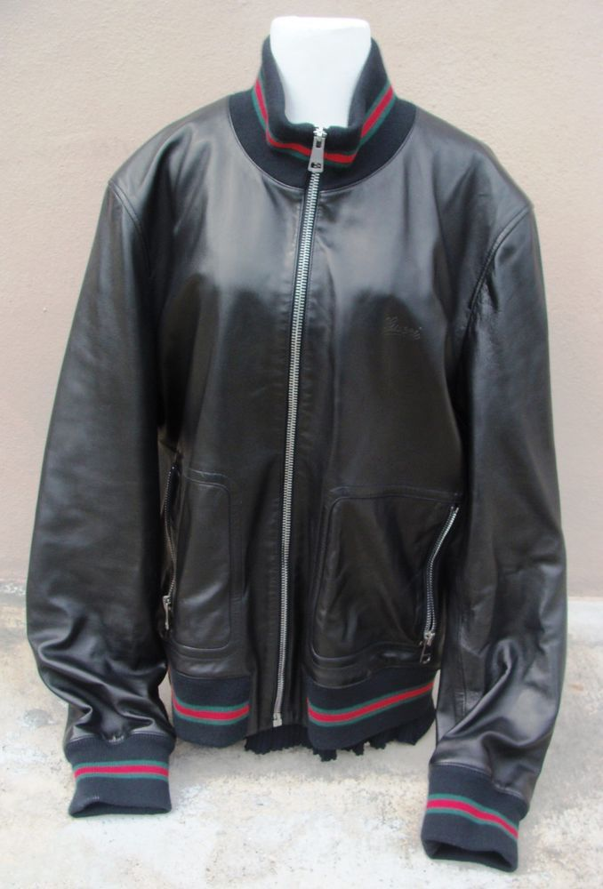 ba16bedaf10c Gucci Mens Black Leather Bomber Jacket NEW WITH TAGS! SIZE 60  GUCCI   FlightBomber