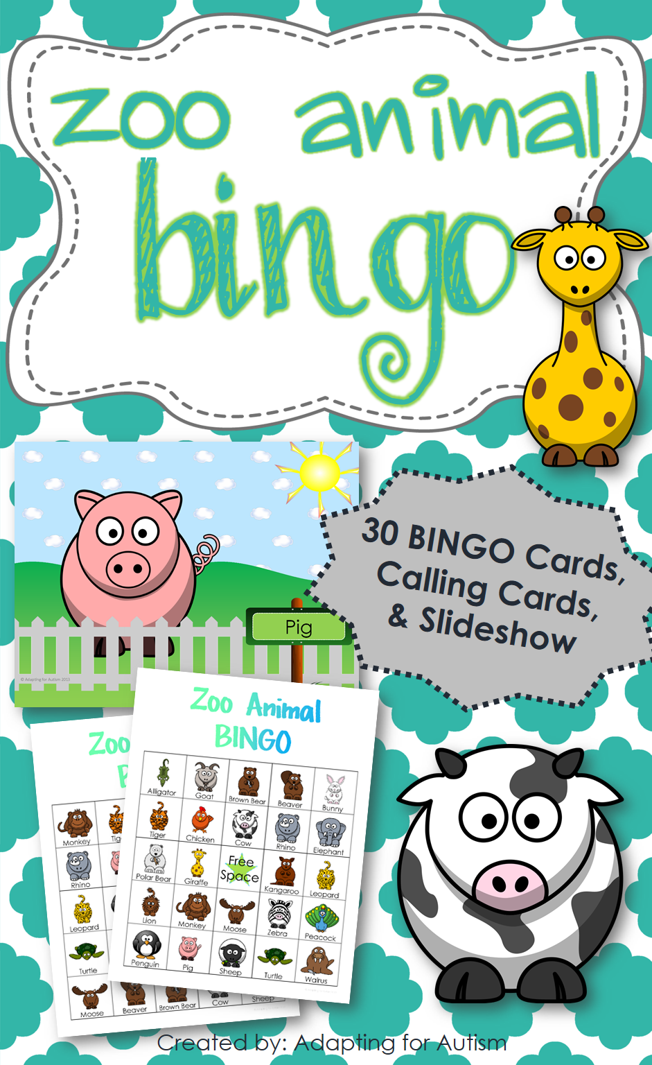 Zoo Animal BINGO: Includes 30 unique BINGO Cards, 1/2 page printable ...