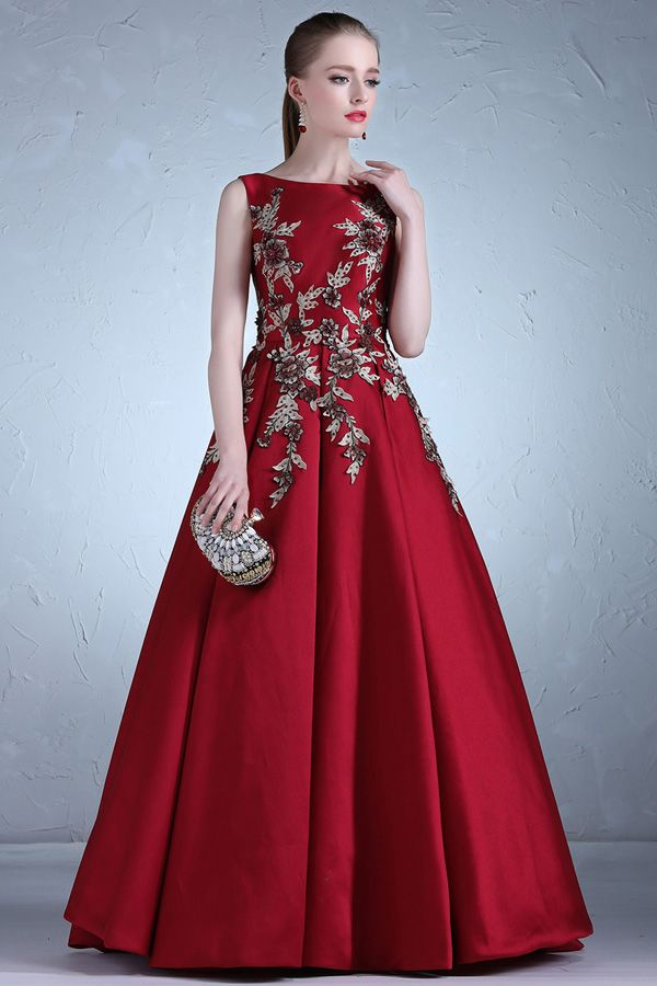 Attractive Satin Bateau Neckline Full Length A Line Evening Dress With Beaded Lace Appliques Evening Dresses Bridal Dresses Ellegant Dresses