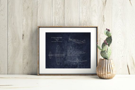 P 51 mustang airplane blueprint art print wwii aircraft art home p 51 mustang airplane blueprint art print wwii aircraft art malvernweather Gallery