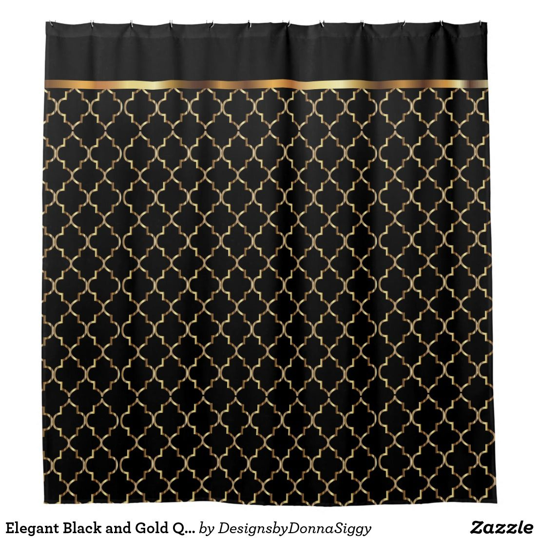 Elegant Black And Gold Quatrefoil Patterns Shower Curtain Zazzle
