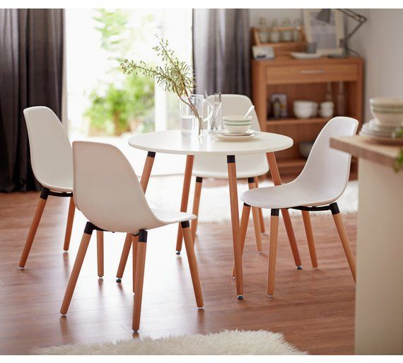 Buy Home Berlin Round Dining Table & 4 Chairs  White At Argosco Magnificent Round Dining Room Tables For Sale Decorating Design