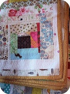 """Sew Take A Hike has a tutorial showing how to make a log cabin """"quilt-as-you-go"""" quilt."""