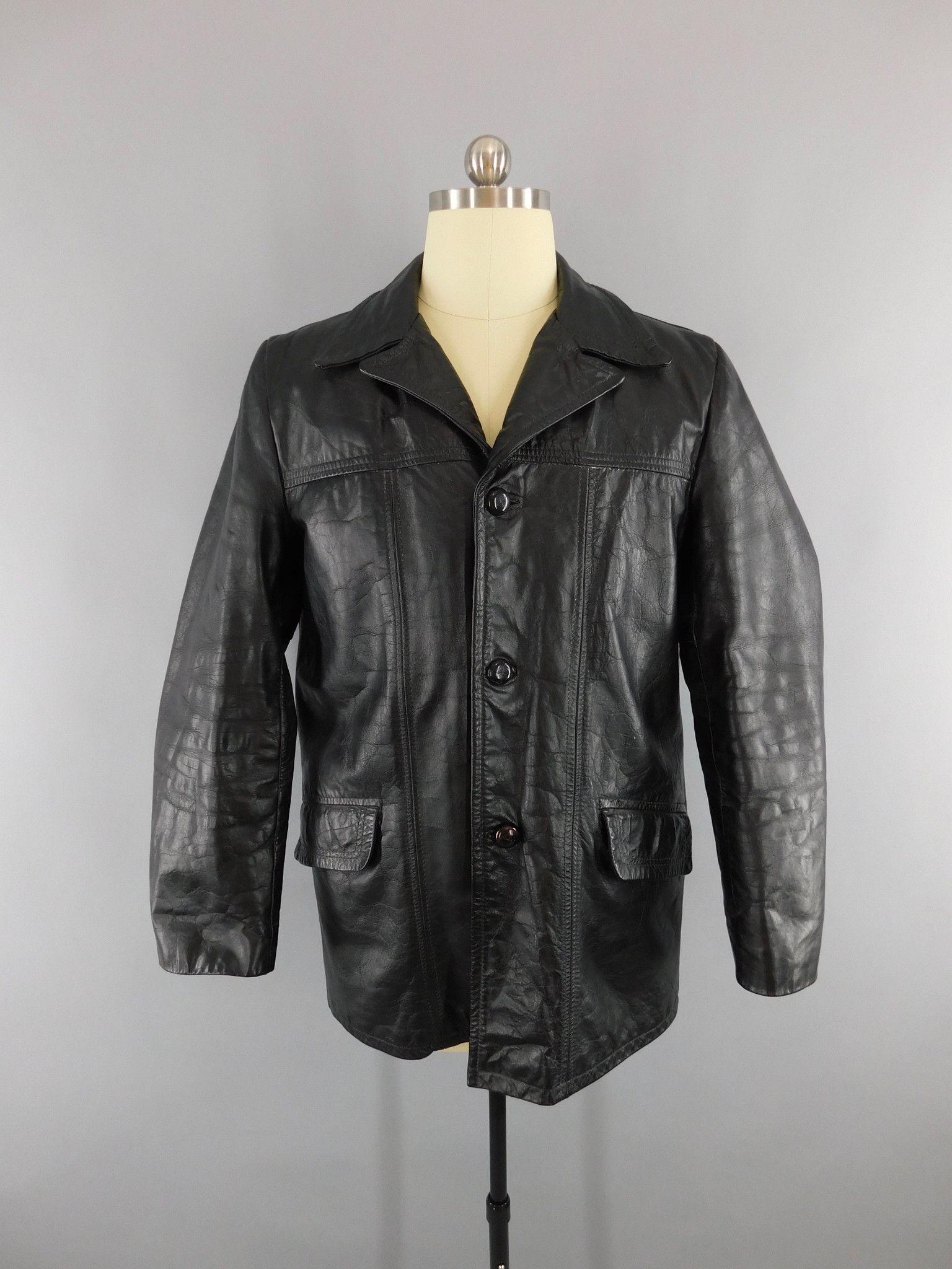 Vintage 1970s men's leather car coat. Black with warm black faux fur lining…