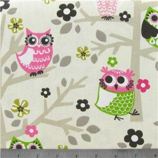 Pink Owls on Tree Branches Printed 100/% Cotton Canvas Fabric.