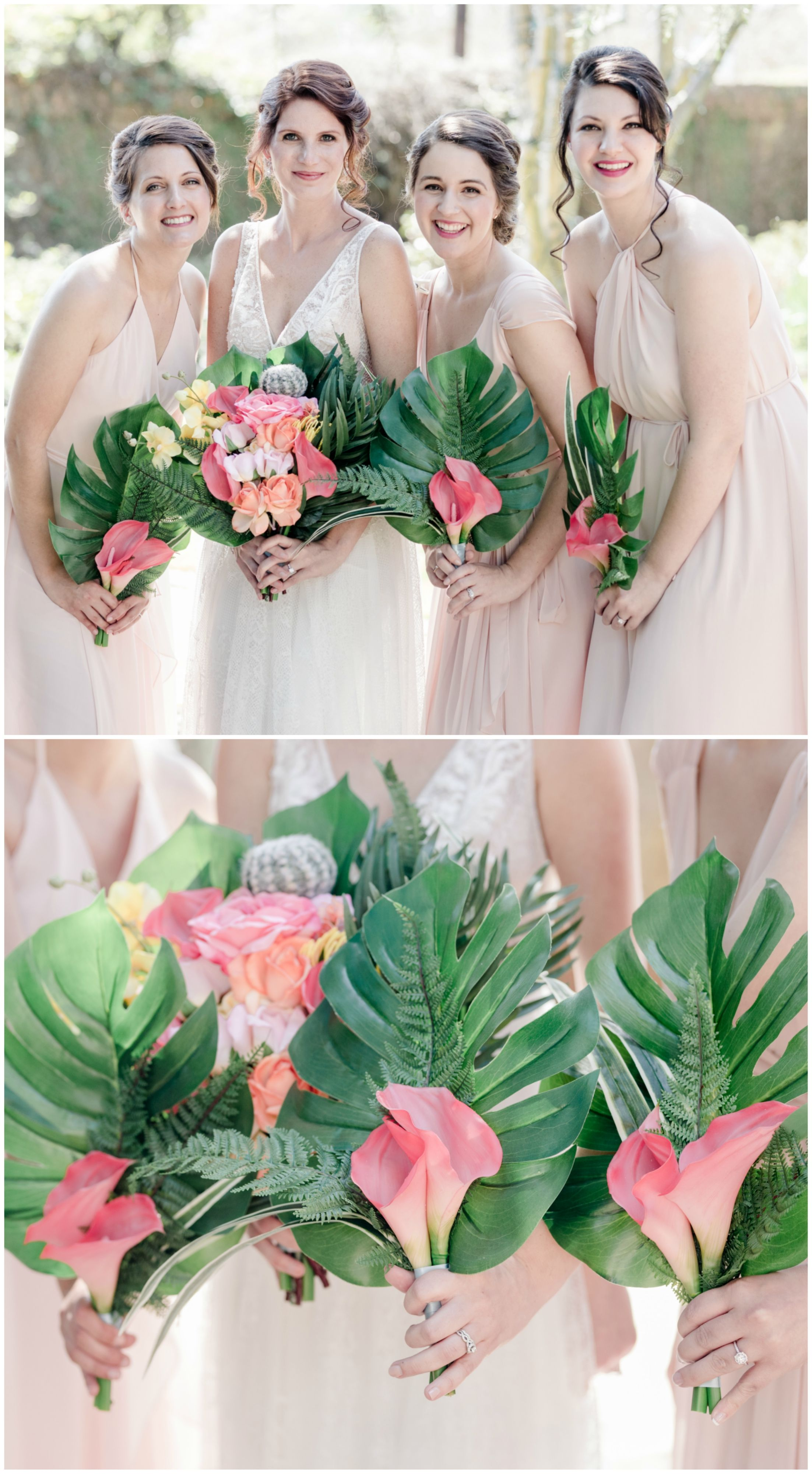 The smarter way to wed palm fronds calla lilies and ariel pink bridesmaid dresses tropical bouquets palm fronds pink calla lilies beach wedding ombrellifo Gallery