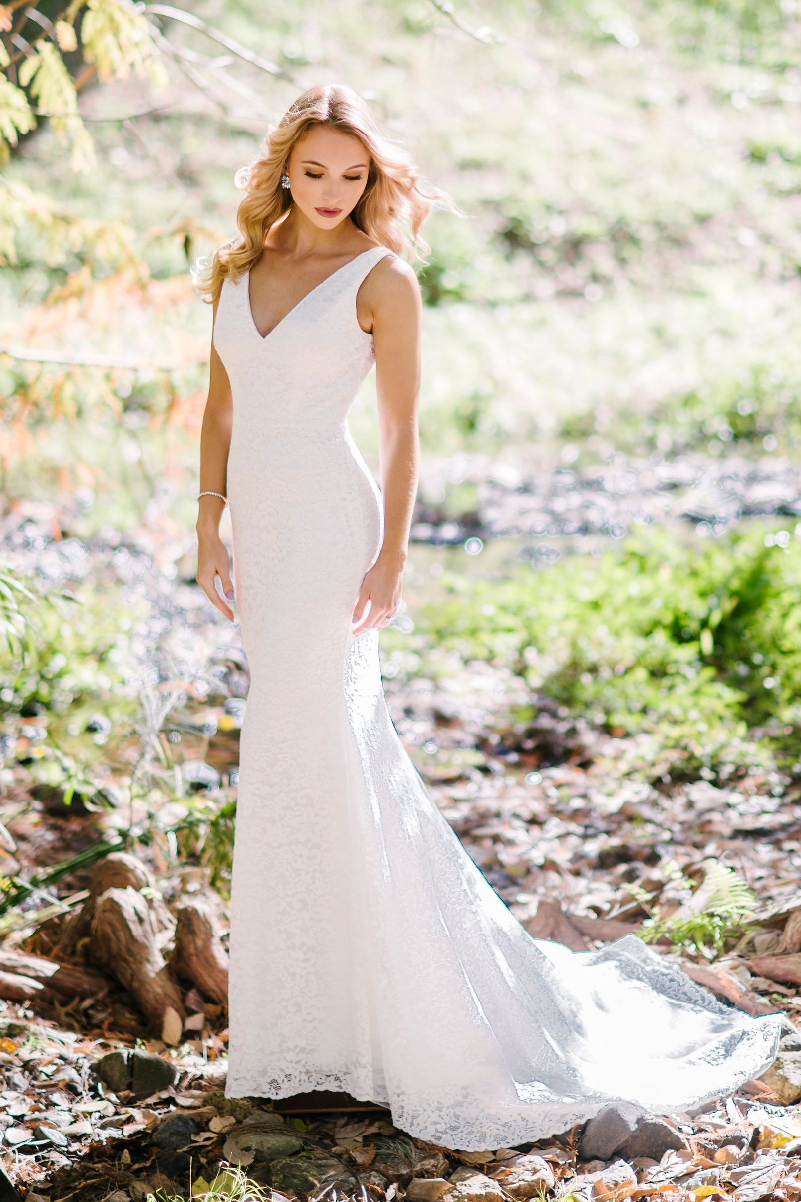 Avignon Lace fishtail wedding dress Yes Bridal Studio