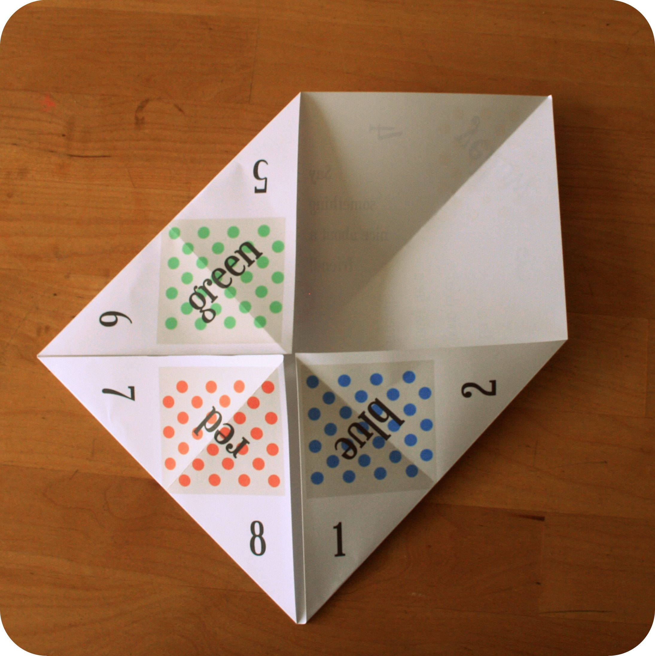 Free Paper Fortune Teller Printable Templates | Paper ... - photo#36