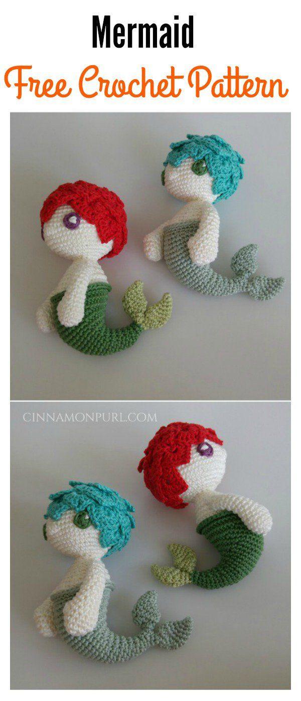 6 Crochet Amigurumi Mermaid Doll Patterns | kostenlose Muster ...