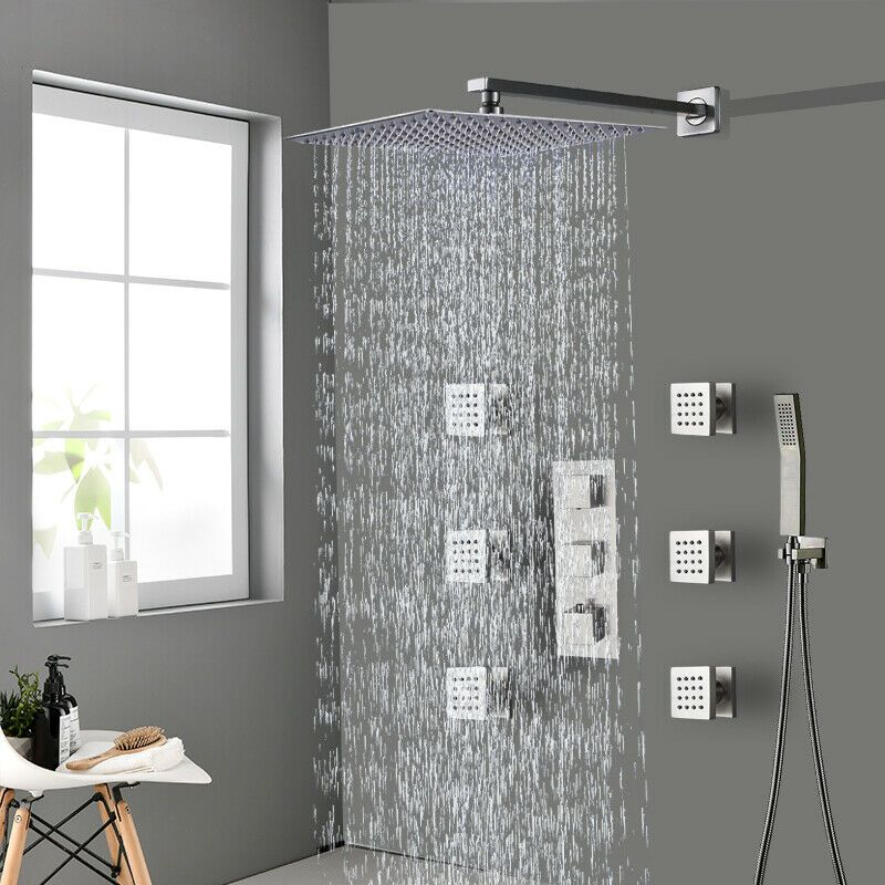 Thermostaic Brushed Nickel 8 Rain Bathroom Shower Faucet Set