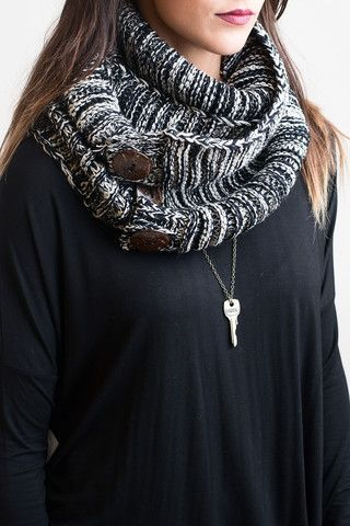 Knits All Good Black Infinity Scarf – Single Thread Boutique, $20.00 #scarf #knit #infinity #infinityscarf #black #fall #winter #buttons #woodenbuttons #warm #singlethreadbtq #shopstb #boutique