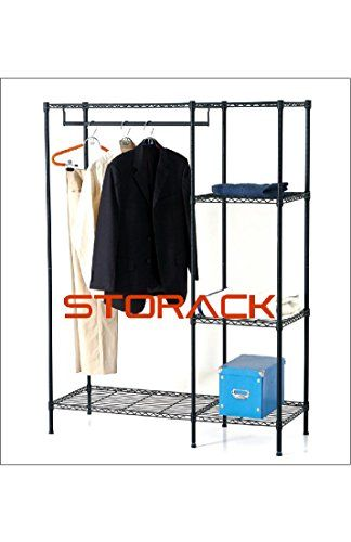 Assembles In Minutes Without Tools. Strong Welded Wire Construction Get  Organized With Free Standing Closet Featuring One Hanging Rod And 4 Shelves.