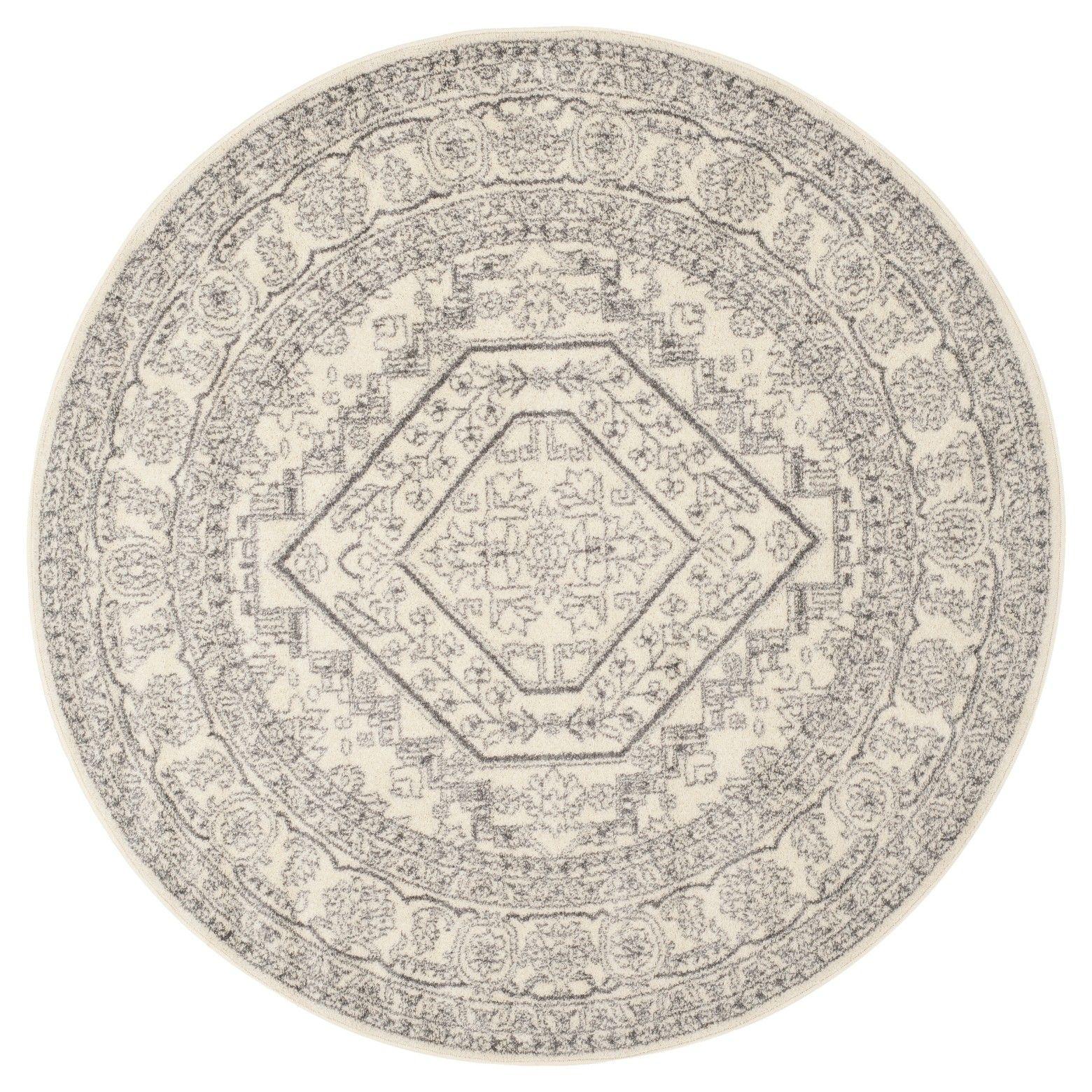 6' Round Aldwin Area Rug Ivory/Silver Safavieh Round