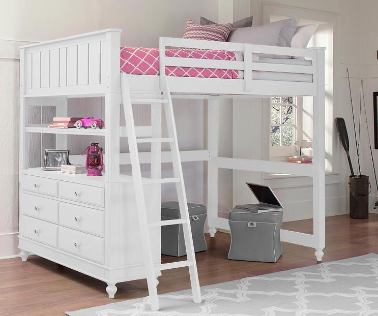 Park Place White Full Size Study Loft Bed Kids Loft Beds Twin