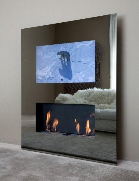 Mirror TV Fireplace. Love the idea of having a TV hidden behind a ...