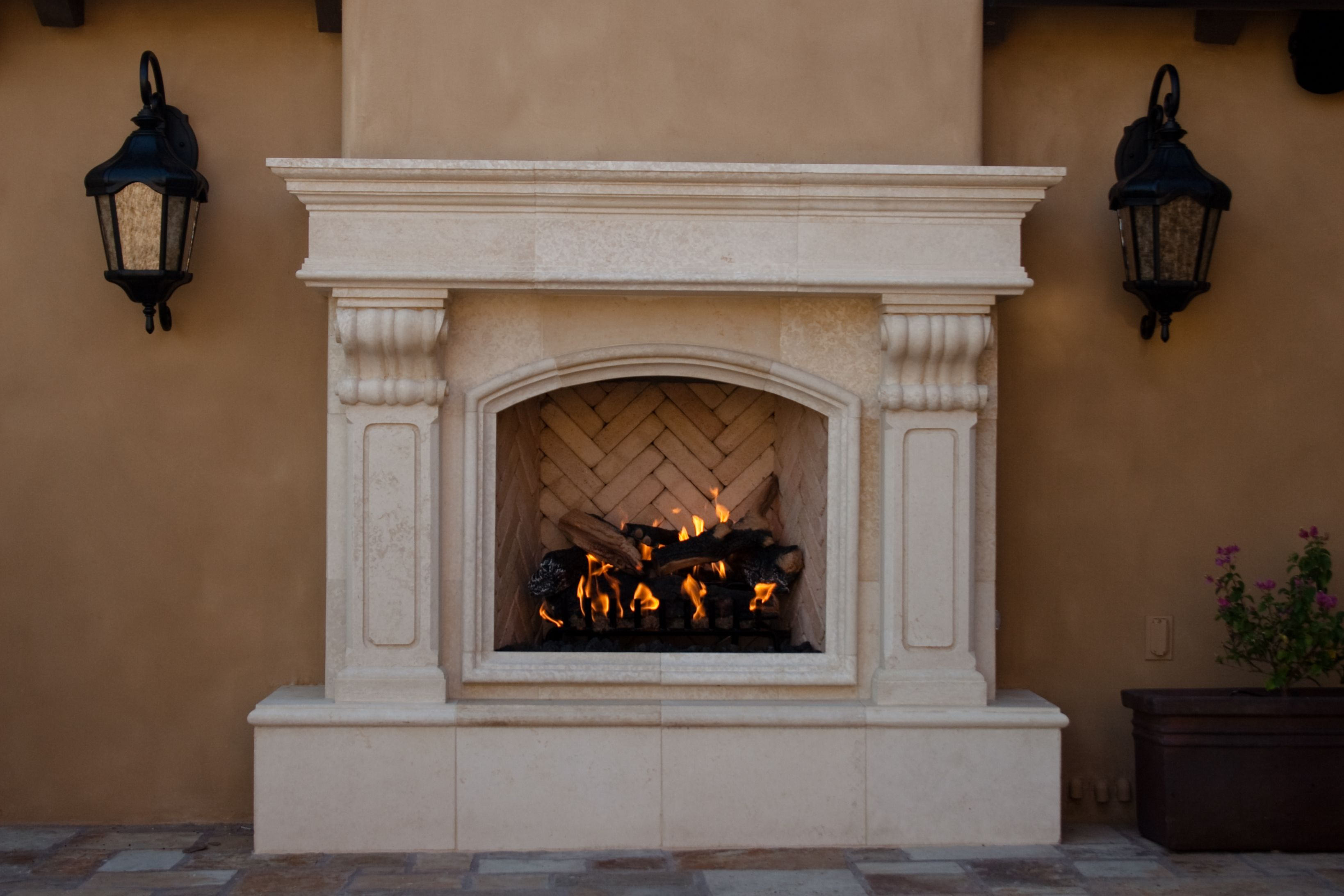 French Limestone Exterior Fireplace Fireplaces Pinterest