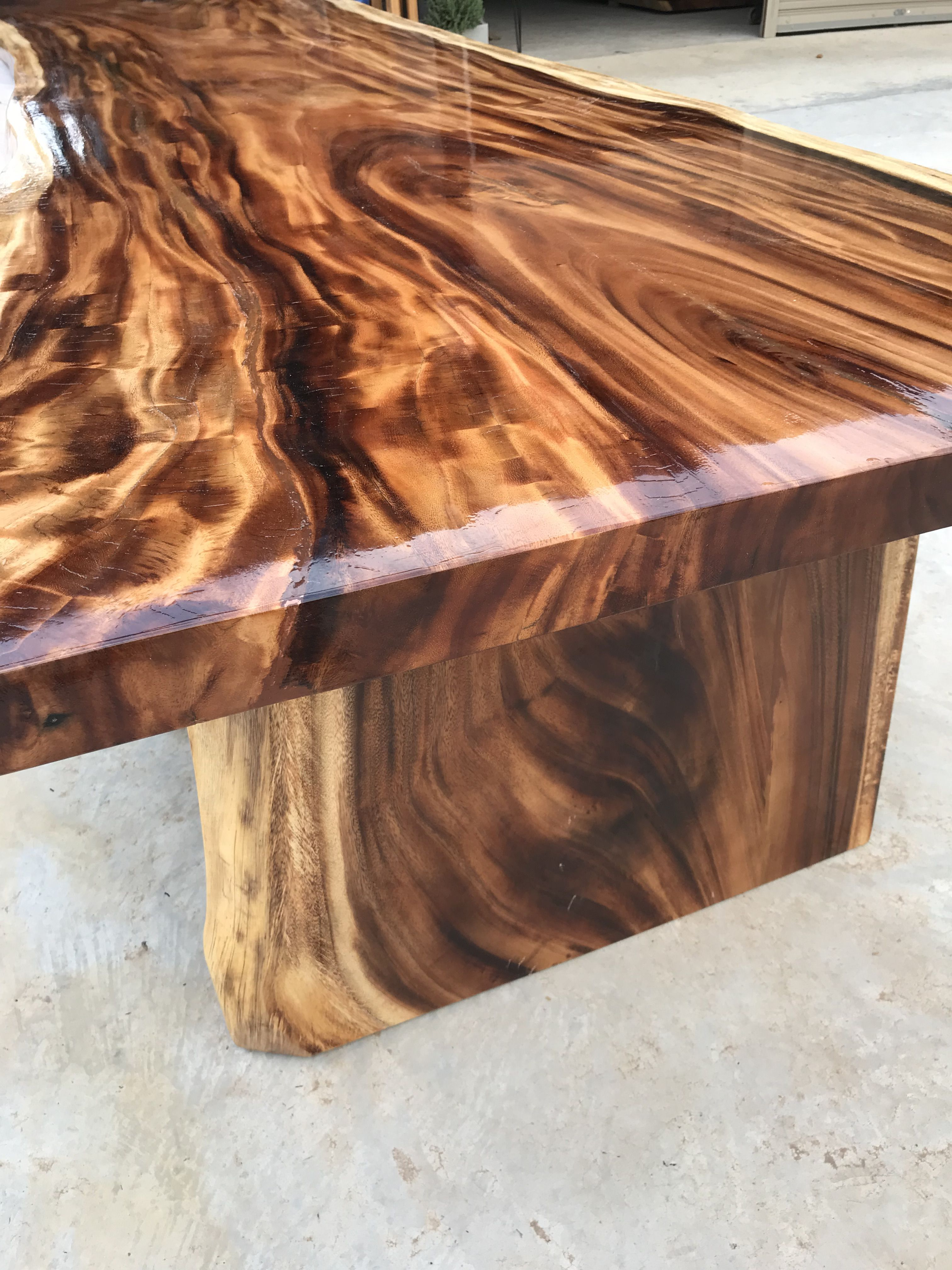 This Is A 14 5ft Large Live Edge Solid Acacia Wood Slab Dining Table We Are Now Creating For A Client Live Edge Wood Table Rustic Wood Projects Wood Decor