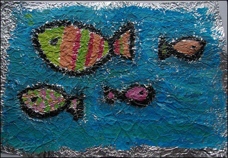 Peindre sur du papier aluminium id es arts visuels en maternelle pinterest tes et om for Peinture sur plastique