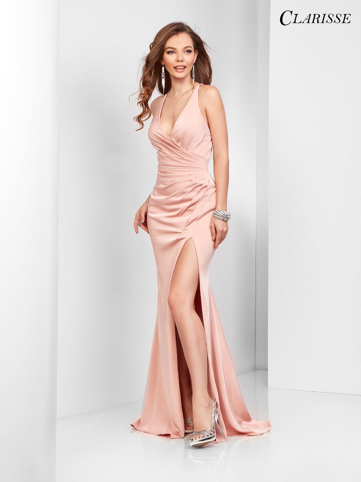 Vneck satin prom dress colors prom satin and blush pink