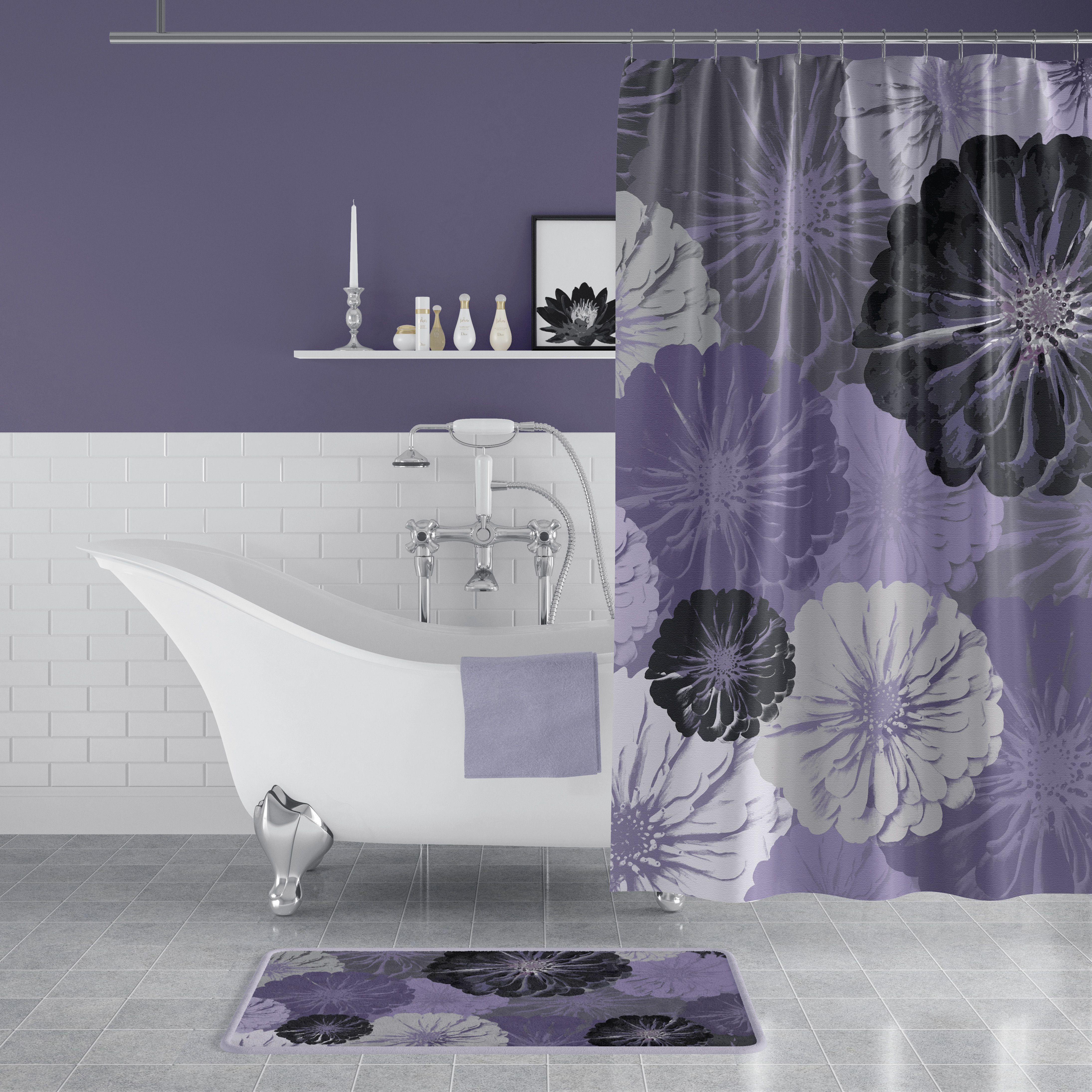 Purple And Gray Floral Print Shower Curtain Purple Shower