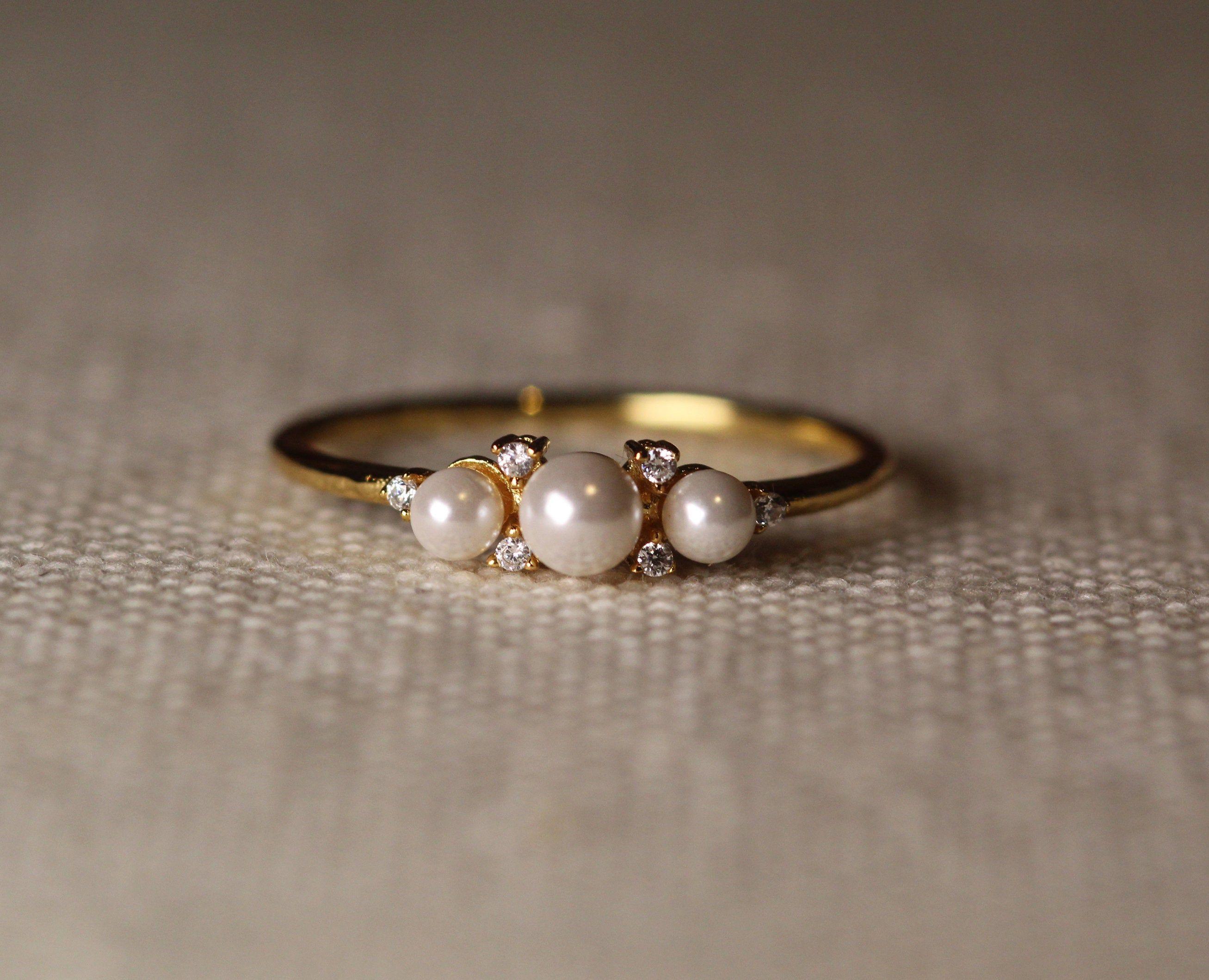 Photo of Art deco Akoya Pearl engagement ring Rose Gold Diamond Wedding Women Unique Brid…