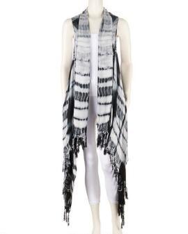 Women's Plus Size Tie Dye Tassel Fringed Vest