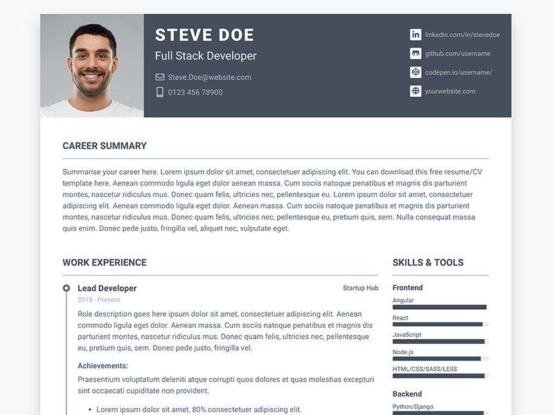 Cv Template Bootstrap Resume Format Resume Template Free Resume Examples Free Resume Template Download