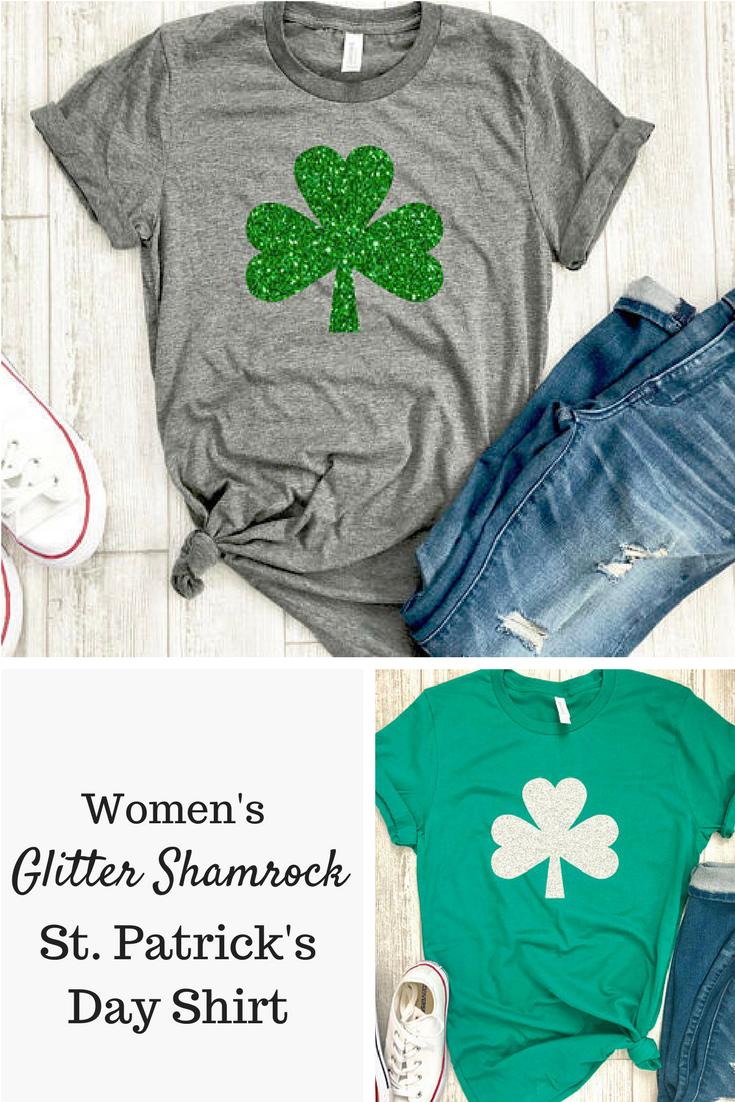 e31074506b16 Women's glitter shamrock casual tee is perfect for St. Patrick's day #ad  #irish