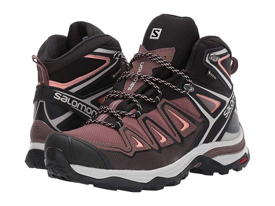 Salomon X Ultra 3 Mid Gtx R Women S Shoes Peppercorn Black Coral Almond Hiking Boots Women Women Shoes Hiking Boots