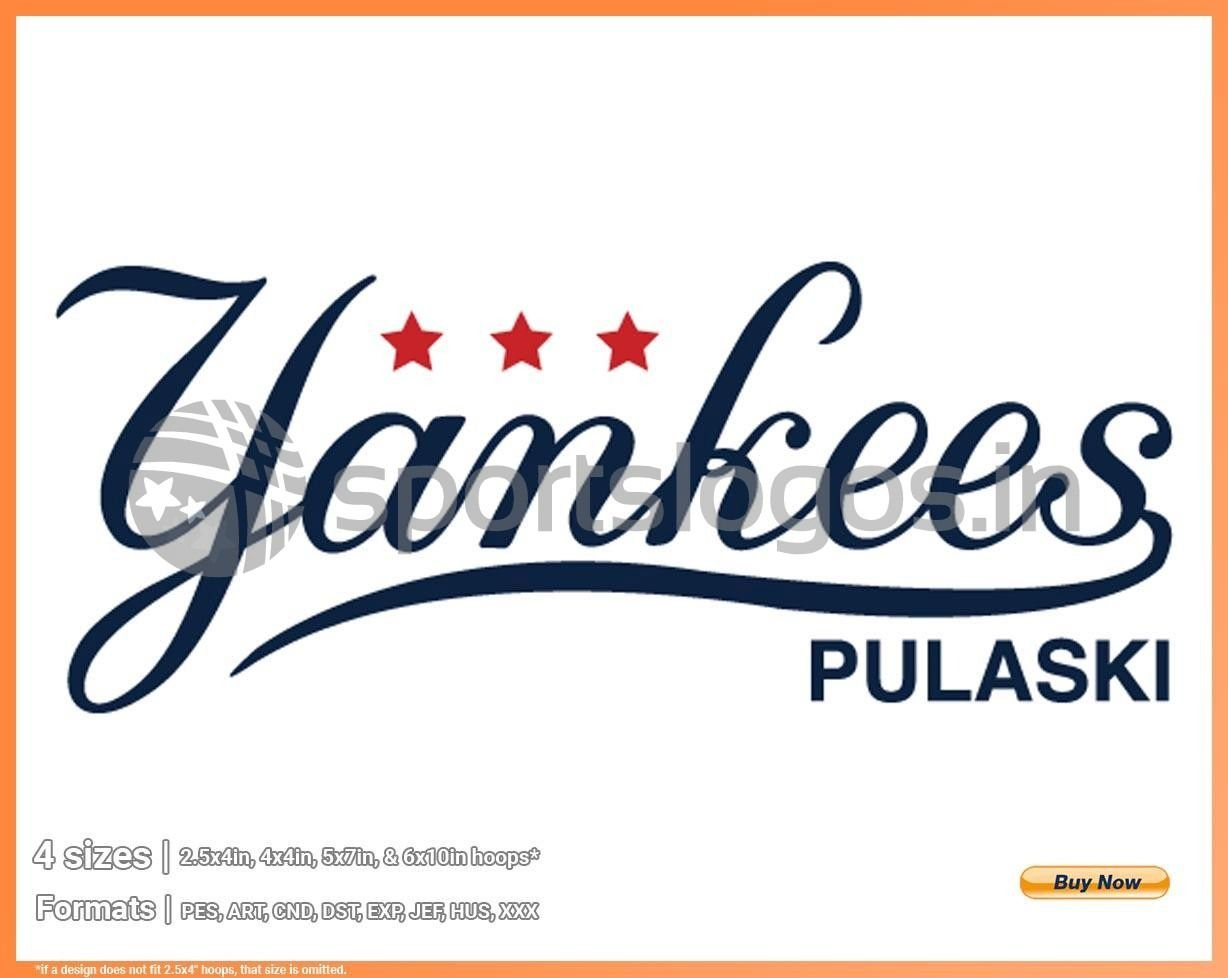 Pulaski Yankees Baseball Sports Embroidery Logo In 4 Sizes Spln003545 Sports Logos Embroidery Vector For Nfl Nba Nhl Mlb Milb And More In 2020 Embroidery Logo Sports Baseball Sports Logo