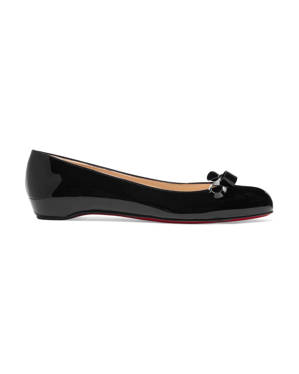04a707857daf Christian Louboutin - Black Vinodo Bow-embellished Patent-leather Ballet  Flats - Lyst