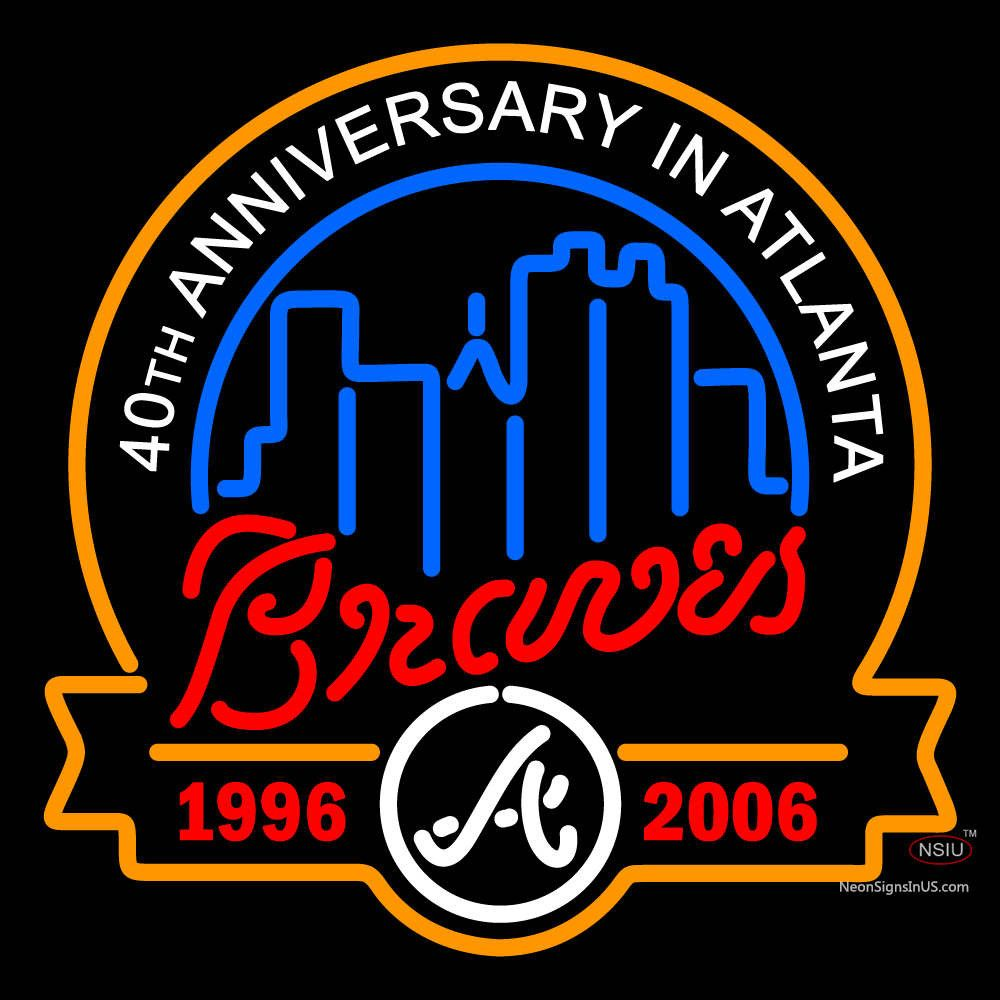 Atlanta Braves Anniversary Logo Mlb Real Neon Glass Tube Neon Sign Affordable And Durable Made In Usa If You Want T Neon Signs Atlanta Braves Anniversary Logo