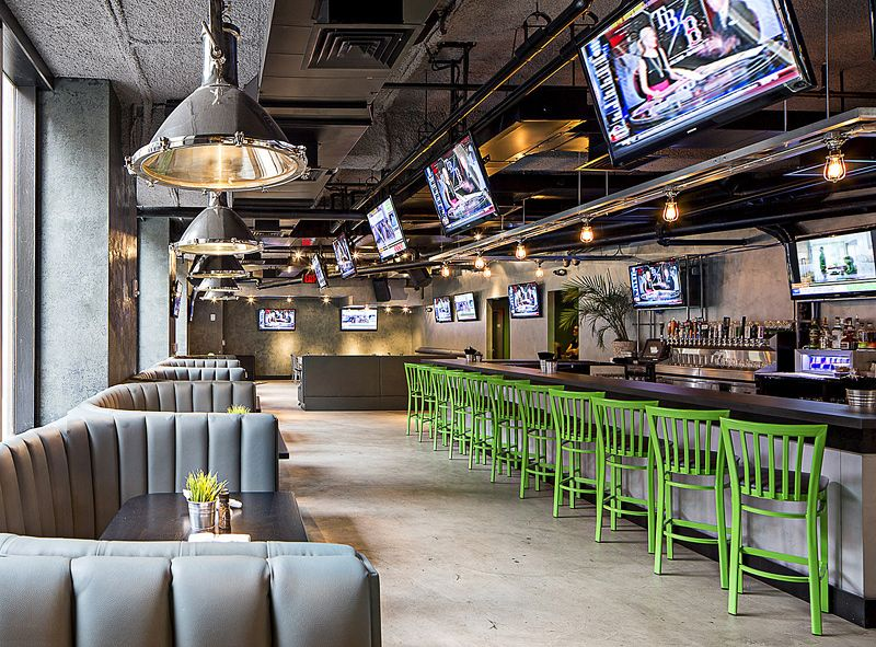 Restaurant design · architectural interior photo of warehouse bar and grille