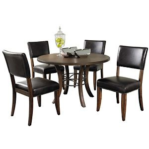 hillsdale furniture cameron wood round dining set with parson