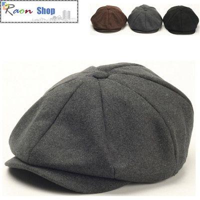 Men Wool Gatsby Eight Panel Newsboy Cap Gray Warm Flat hat Cabbie Golf  Beret  71a67022156