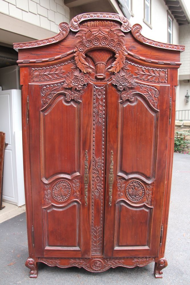 french antique hand carved armoire. French Antique Armoire, Hand Carved Solid Mahogony Bridal Armoire! Mirrored Door Armoire H