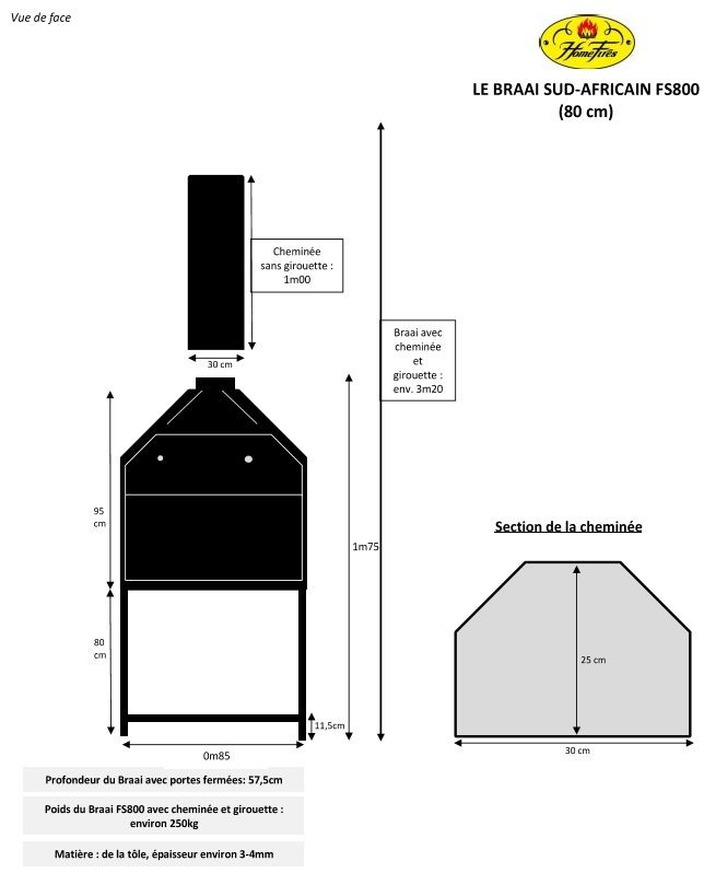 Barbecue BRAAI FS800 - prêt à poser - hotte sans meuble Barbecues