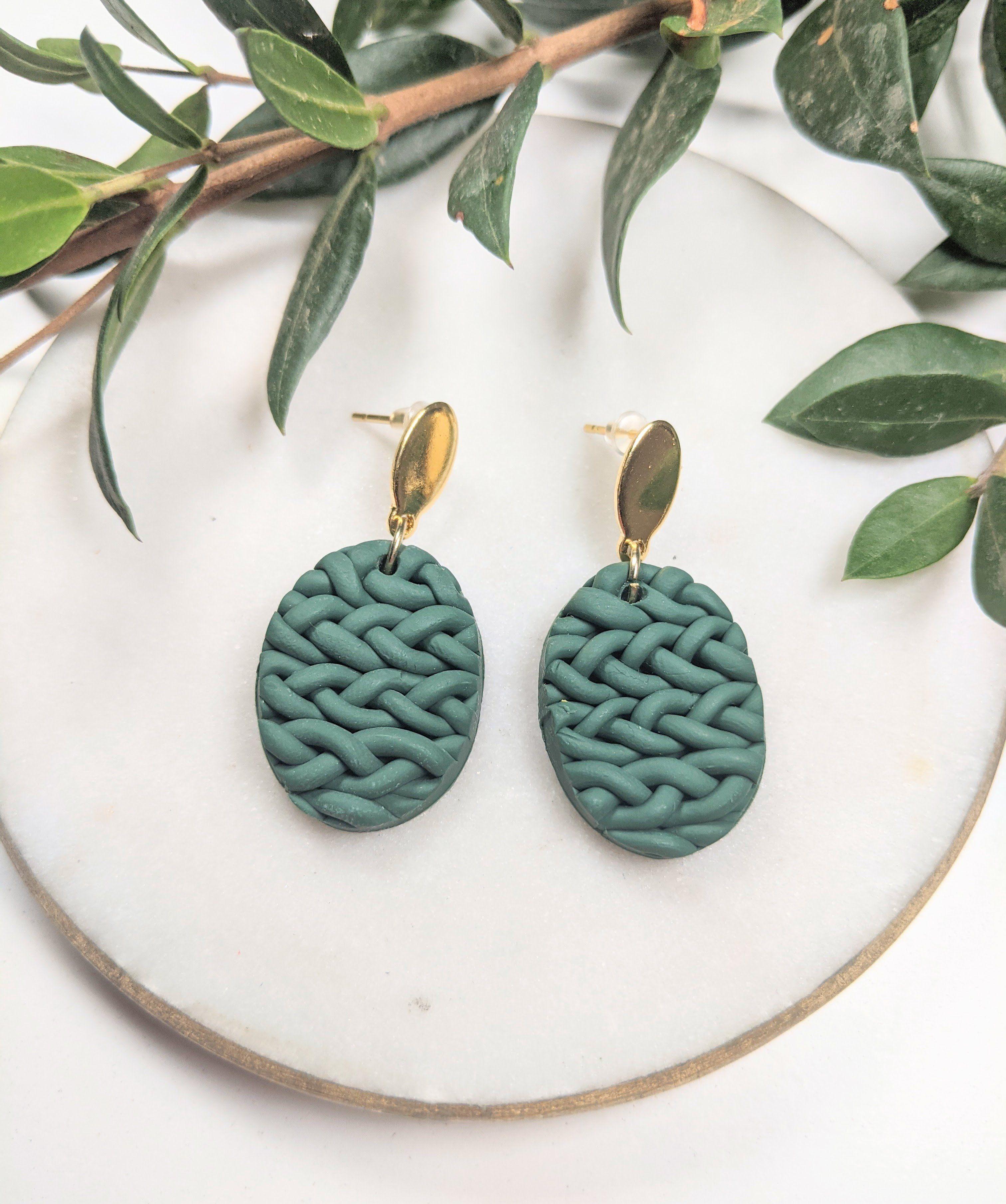 Knit Pattern Pine Green Clay Earrings