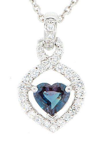 Natural Heart Shape AAA Grade Alexandrite & Pave Diamond Pendant set in Platinum AfricaGems. $6625.00