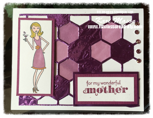 A Fun use of Purple Craft Metal, Blendabilities, Alcohol Ink and a Hexagon Die to show Mom the Love! <3