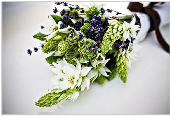 Green, purple and white rustic wedding bouquet