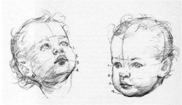 Rostros De Niños Animados: Paso 3 Para Dibujar El Rostro De Un Bebe