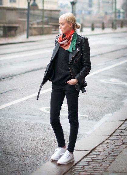 4dcf51dc1a1f7 All black + white reeboks + bright scarf