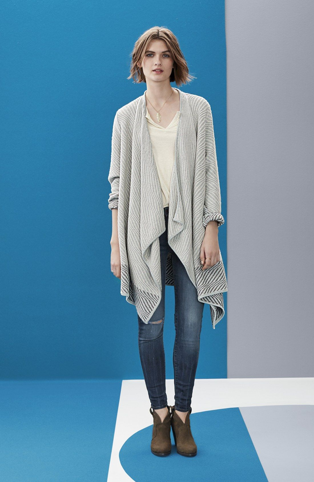 Lucky Brand Waterfall Cardigan, Split Neck Knit & Woven Top ...