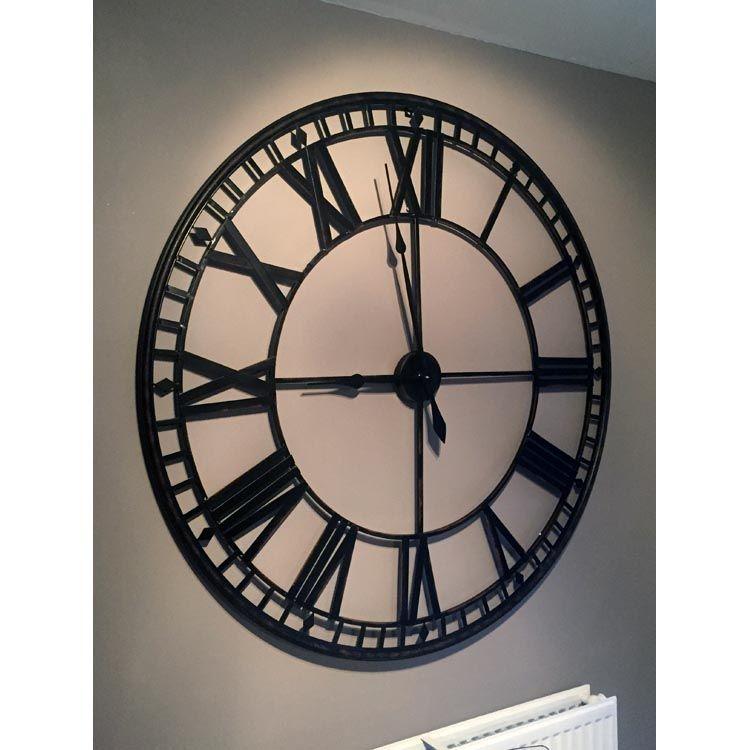 Large Black Circular Skeleton Clock Exi2278 Beau Decor